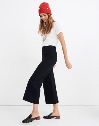Petite Emmett Wide-Leg Crop Pants in classic black image 2