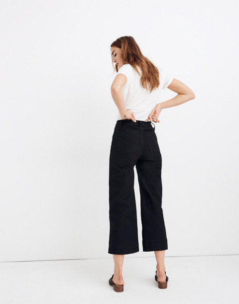 Tall Emmett Wide-Leg Crop Pants in classic black image 3