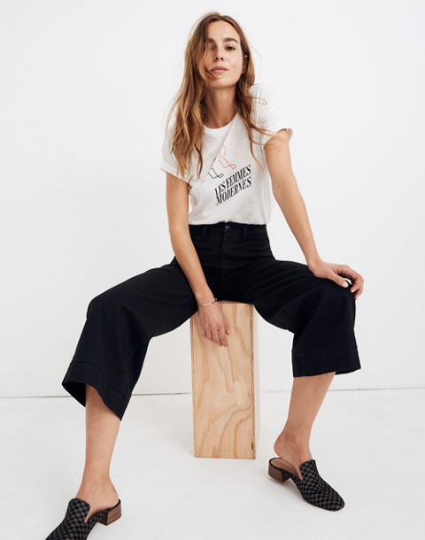 Emmett Wide-Leg Crop Pants in classic black image 1