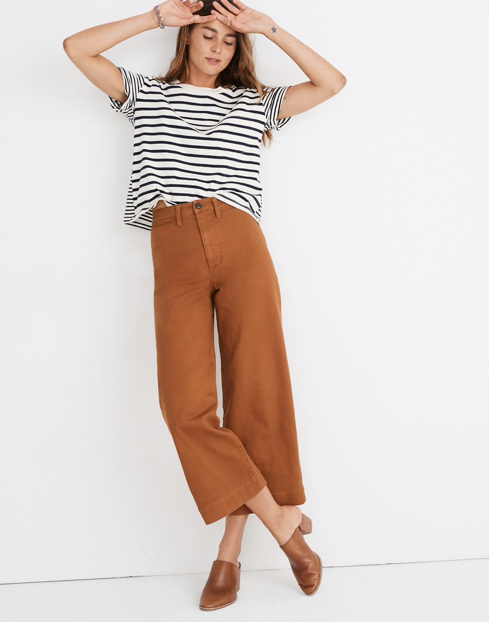 Emmett Wide-Leg Crop Pants in burnt sienna image 3