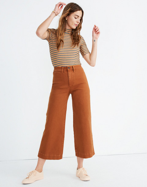 Tall Emmett Wide-Leg Crop Pants in warm coffee image 1