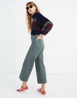 Tall Emmett Wide-Leg Crop Pants in architect green image 2