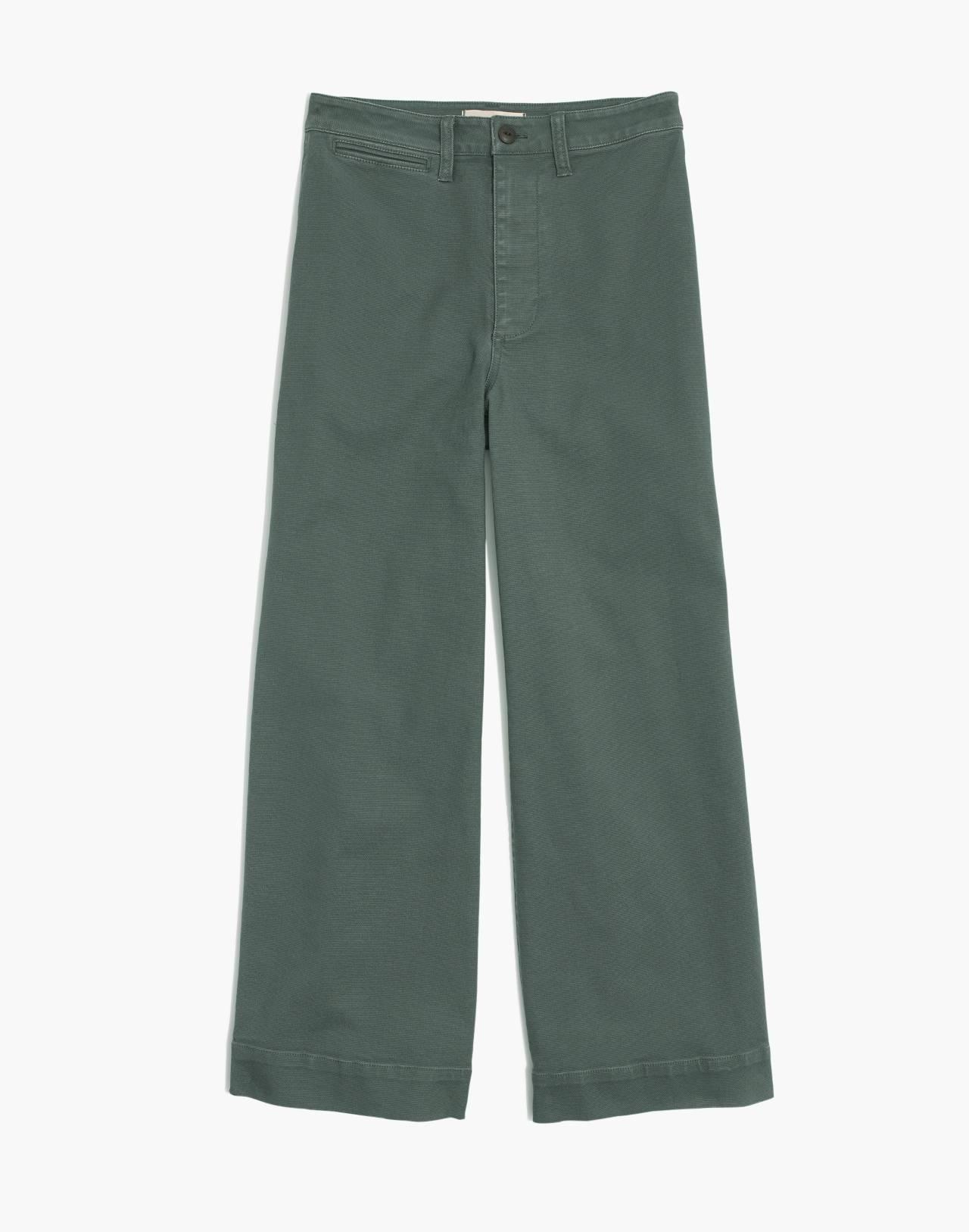 Tall Emmett Wide-Leg Crop Pants in architect green image 4