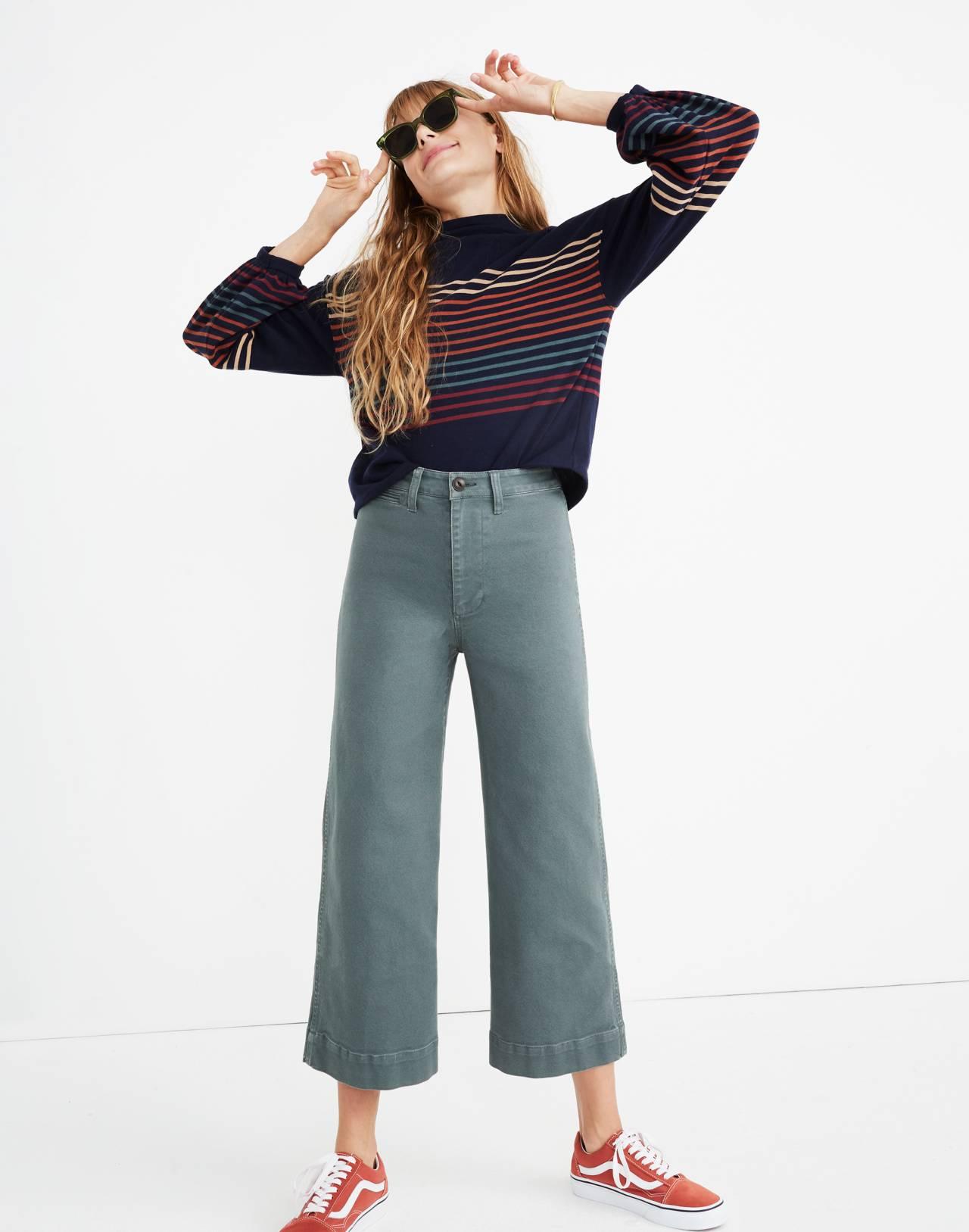 Tall Emmett Wide-Leg Crop Pants in architect green image 1