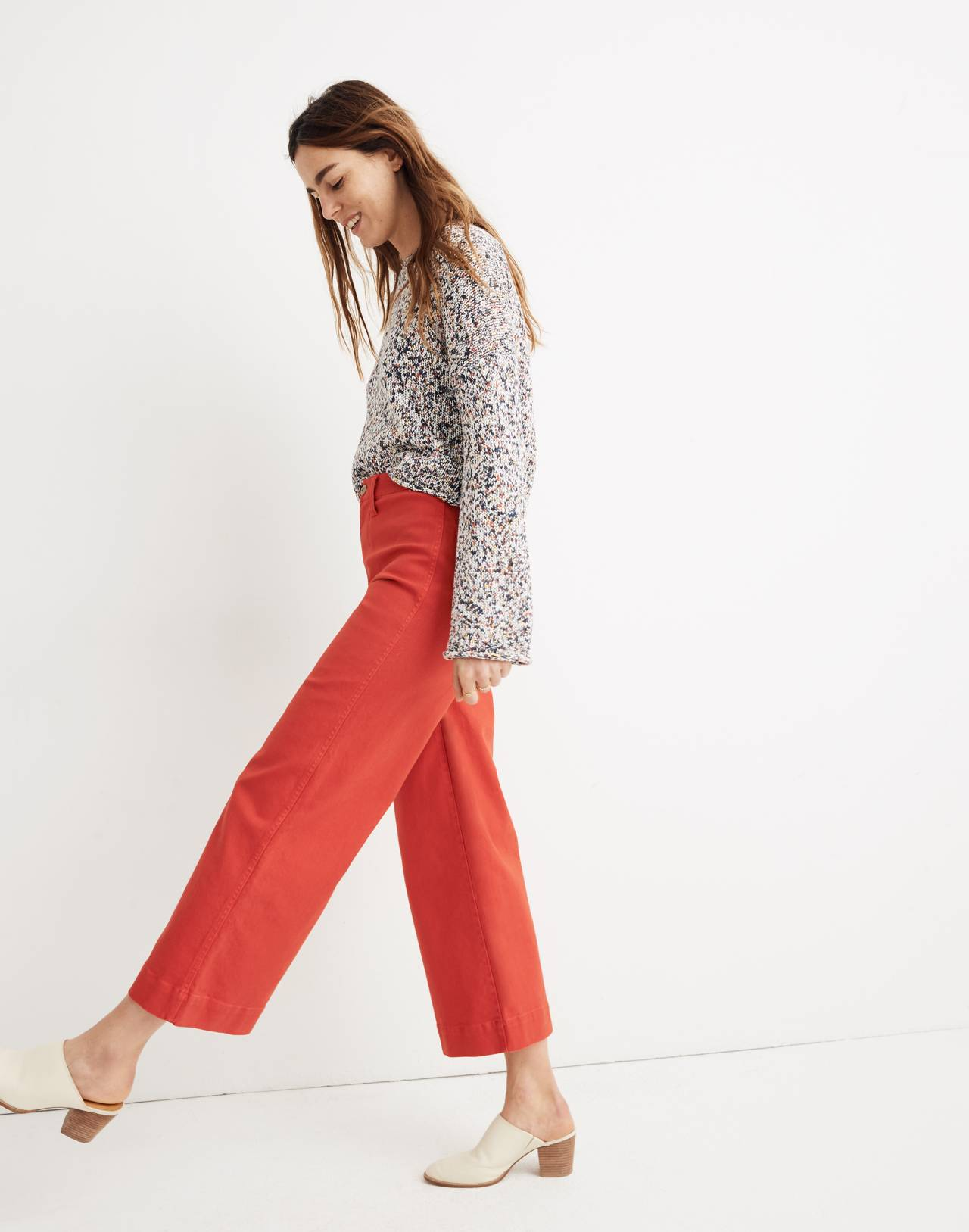 Emmett Wide-Leg Crop Pants in americana red image 2