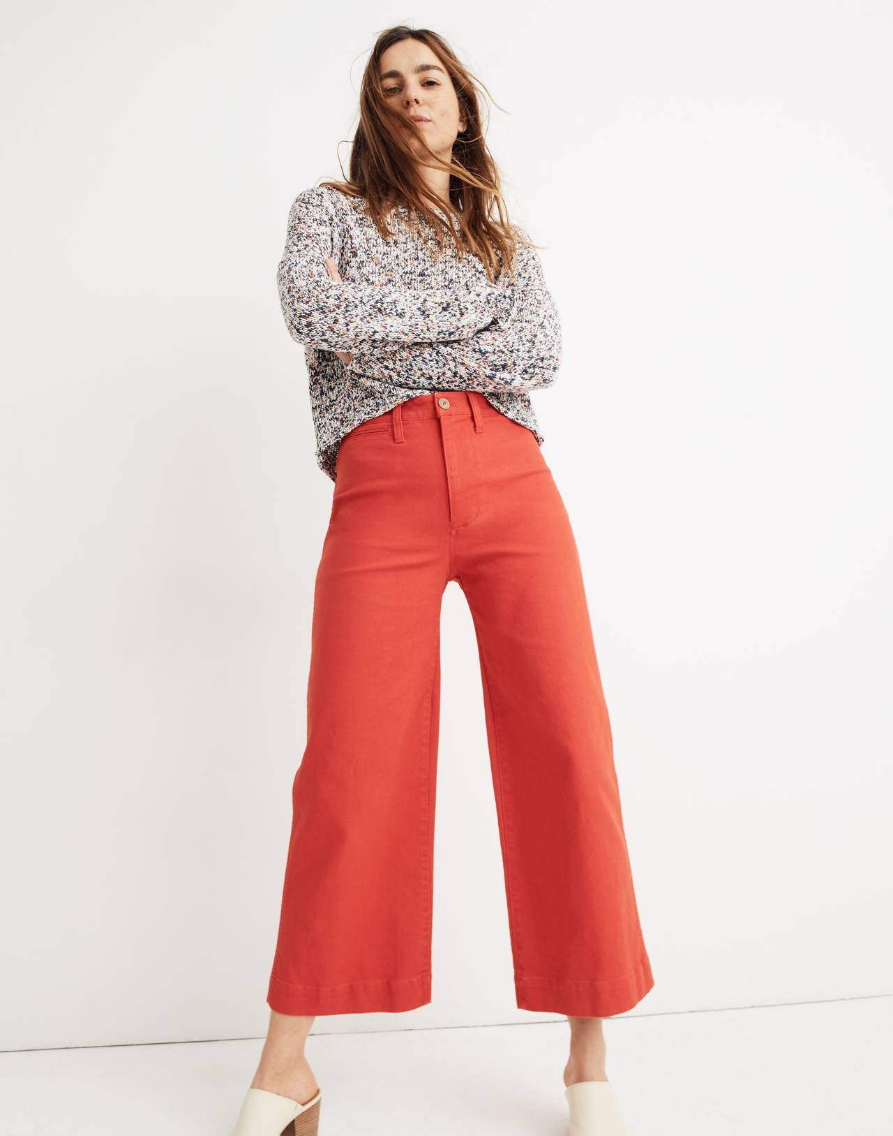 Emmett Wide-Leg Crop Pants in americana red image 1