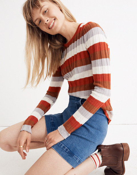 Clarkwell Pullover Sweater in Stripe in spiced cinnamon image 2