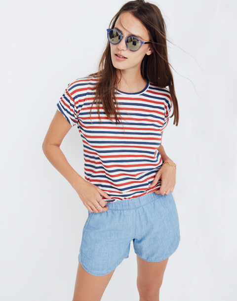 Whisper Cotton Crewneck Tee in Franklin Stripe in bright ivory image 2