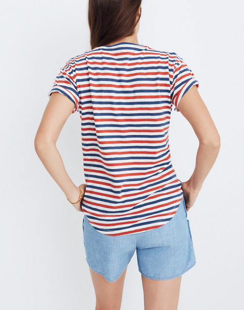 Whisper Cotton Crewneck Tee in Franklin Stripe in bright ivory image 3