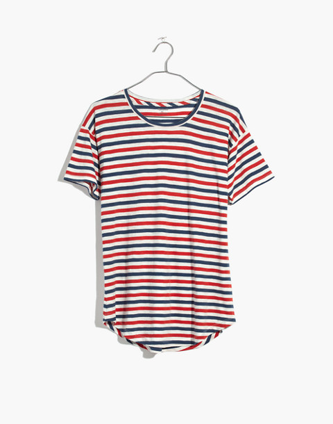Whisper Cotton Crewneck Tee in Franklin Stripe in bright ivory image 4