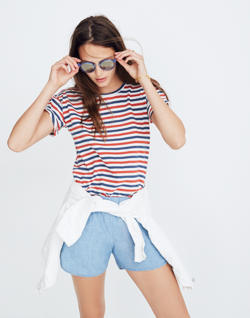 Whisper Cotton Crewneck Tee in Franklin Stripe