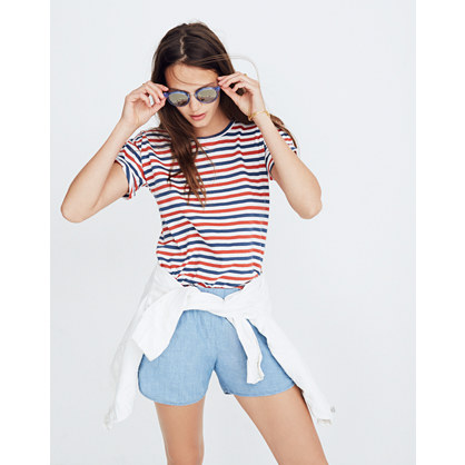 Whisper Cotton Crewneck Tee In Franklin Stripe by Madewell