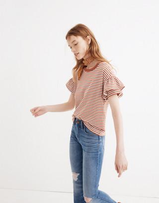 Ruffle-Sleeve Tee in Stripe