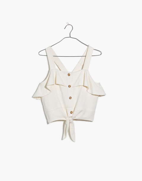 Texture & Thread Ruffle Tie-Front Tank in bright ivory image 4
