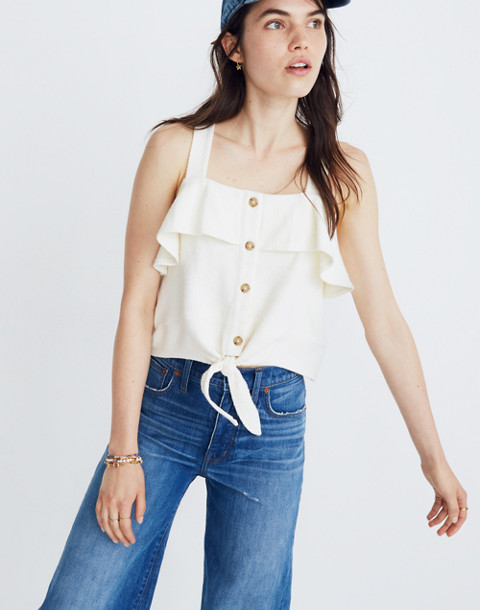 Texture & Thread Ruffle Tie-Front Tank in bright ivory image 1