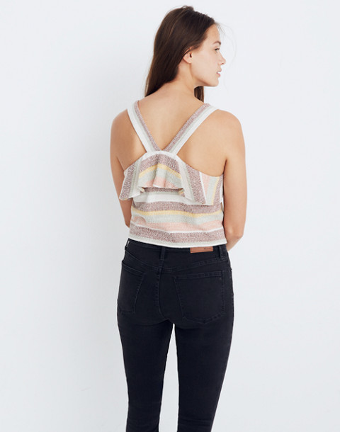Texture & Thread Ruffle Tie-Front Tank in Stripe in maple syrup image 2