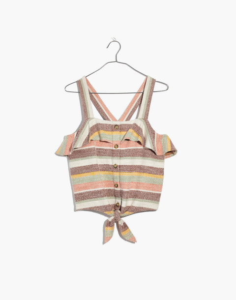 Texture & Thread Ruffle Tie-Front Tank in Stripe in maple syrup image 4