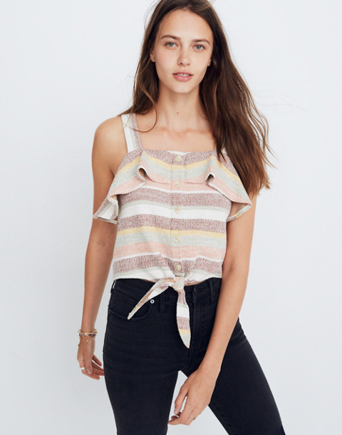 Texture & Thread Ruffle Tie-Front Tank in Stripe in maple syrup image 1