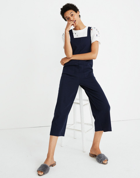 Knit Patch-Pocket Overalls in deep navy image 2