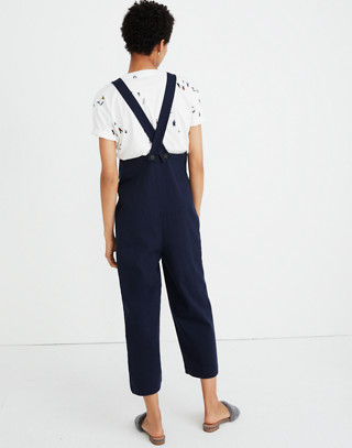 Knit Patch-Pocket Overalls in deep navy image 3