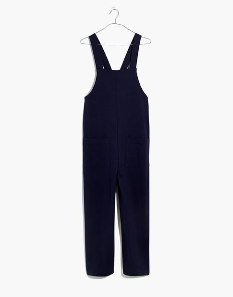 Knit Patch-Pocket Overalls in deep navy image 4