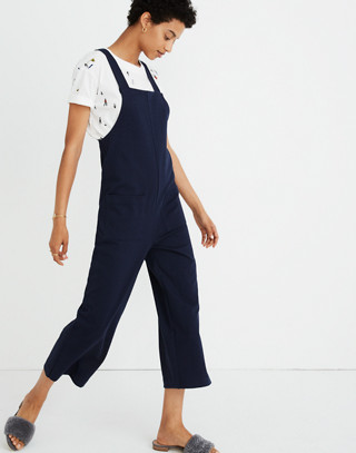Knit Patch-Pocket Overalls in deep navy image 1