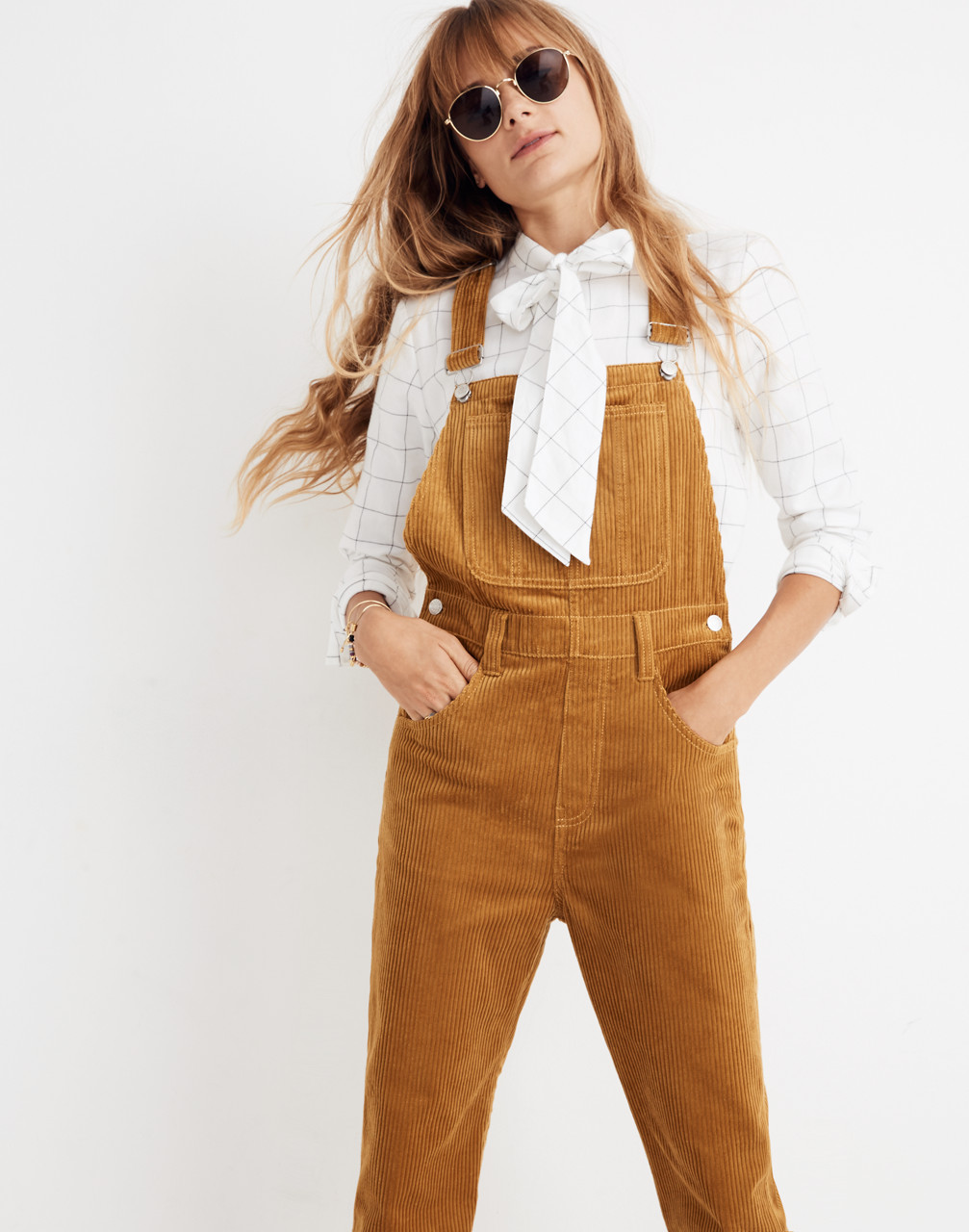 Straight-Leg Overalls: Corduroy Edition in egyptian gold image 1