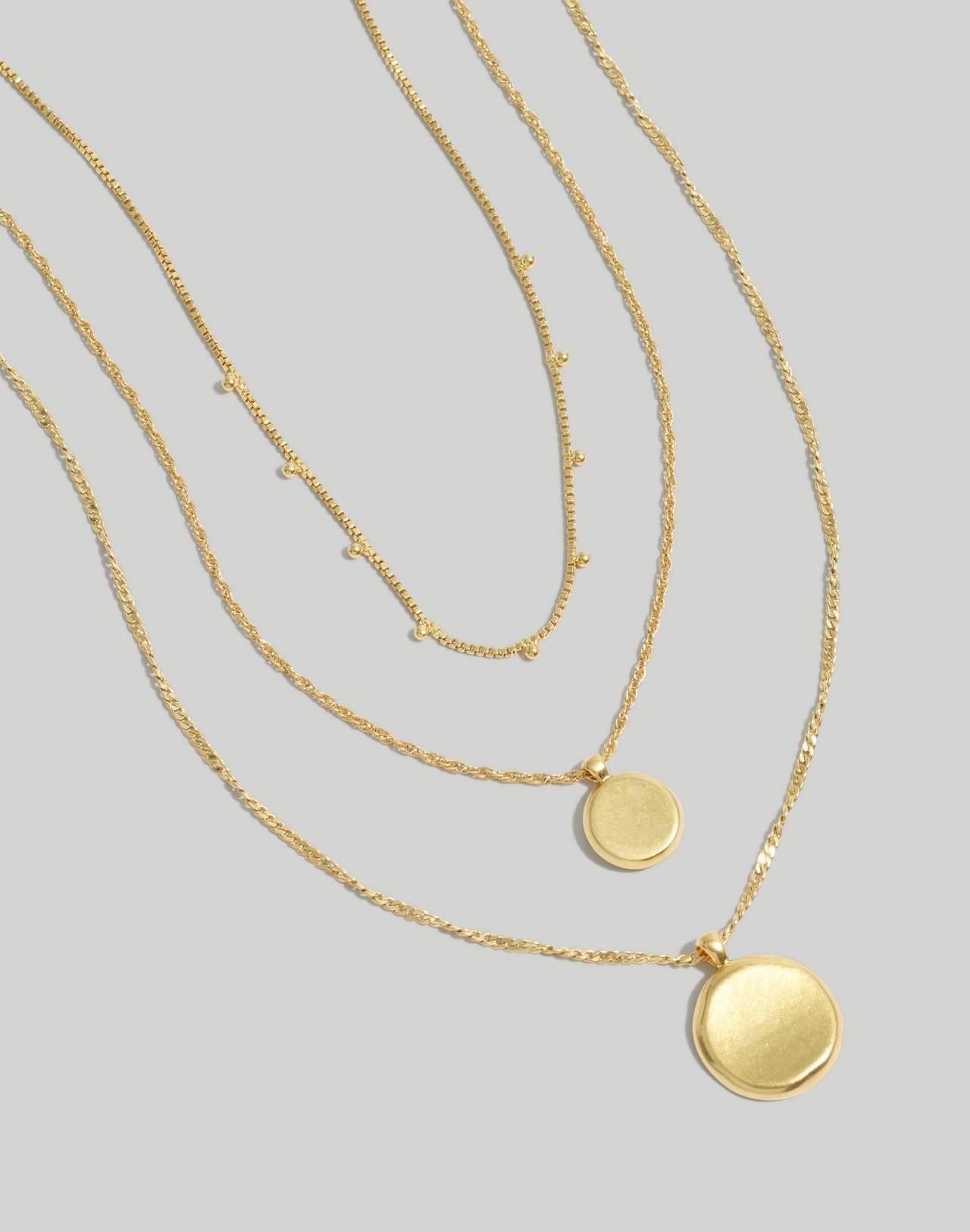 Coin Necklace Set in vintage gold image 1