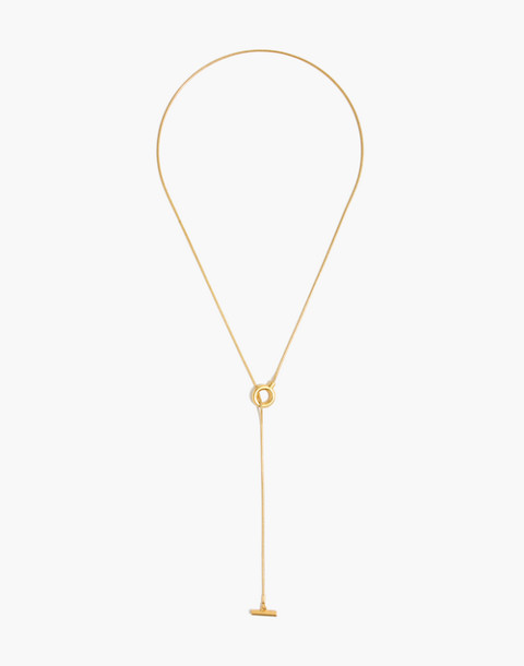 Toggle Lariat Necklace in vintage gold image 2