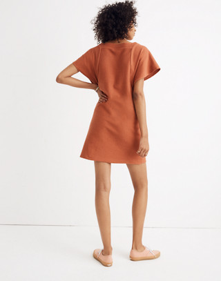 Texture & Thread Square-Neck Dress in afterglow red image 3