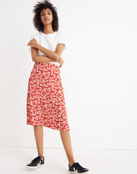 Side-Button Skirt in Full Bloom in retro floral cranberry image 2