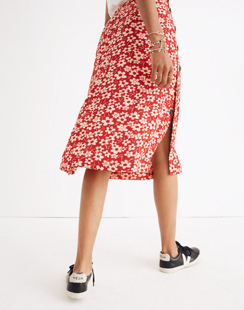 Side-Button Skirt in Full Bloom in retro floral cranberry image 3