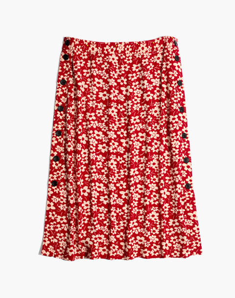 Side-Button Skirt in Full Bloom in retro floral cranberry image 4