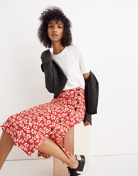 Side-Button Skirt in Full Bloom in retro floral cranberry image 1