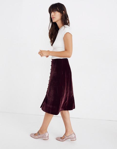 Velvet Button-Front Midi Skirt in pinot noir image 2