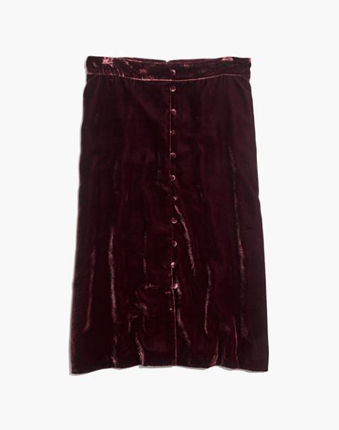 Velvet Button-Front Midi Skirt in pinot noir image 4