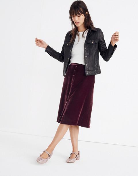 Velvet Button-Front Midi Skirt in pinot noir image 1