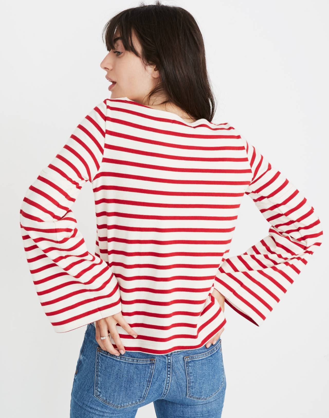 Madewell x Armor-Lux® Flare-Sleeve Striped Top in red creme stripe image 2