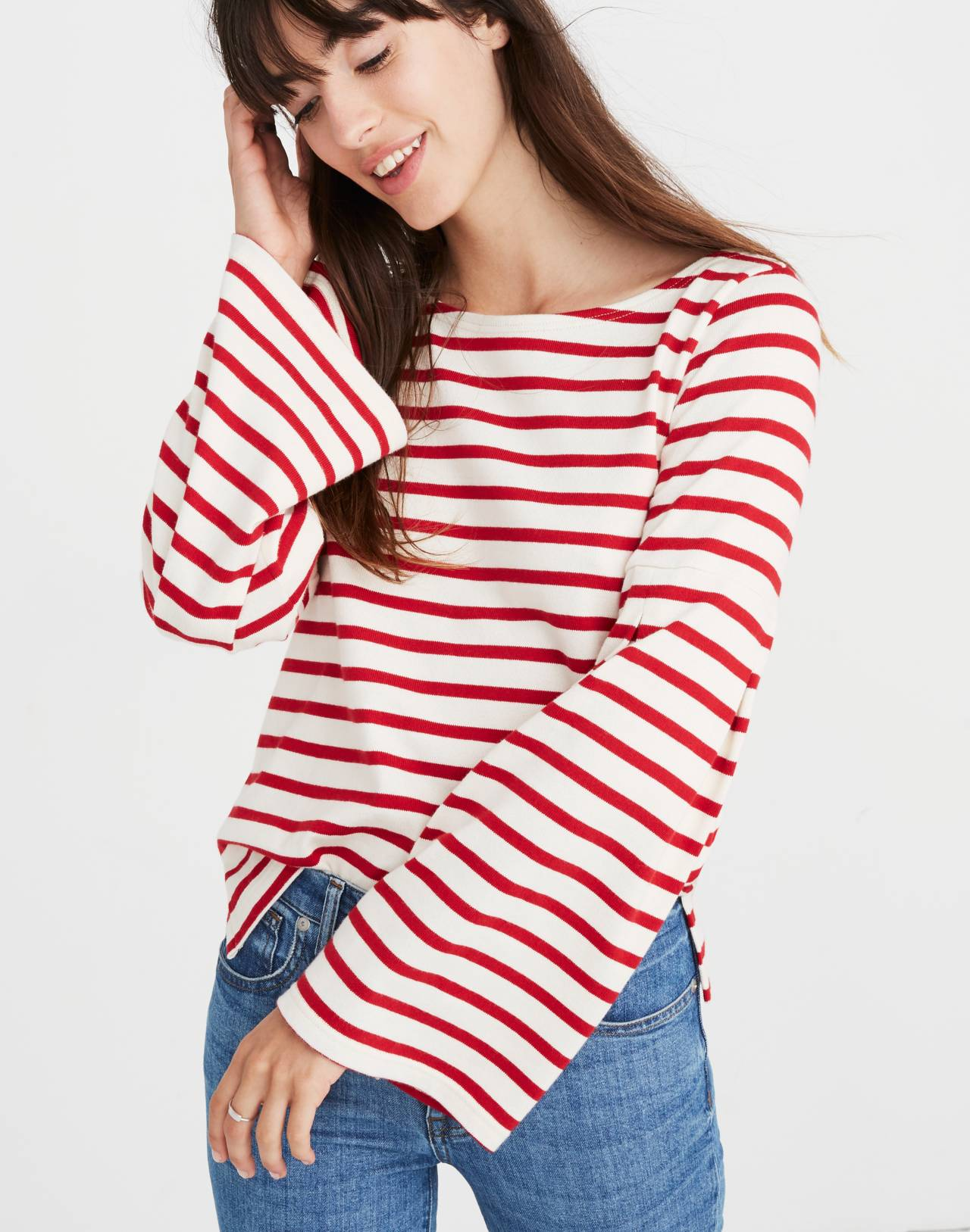 Madewell x Armor-Lux® Flare-Sleeve Striped Top in red creme stripe image 3