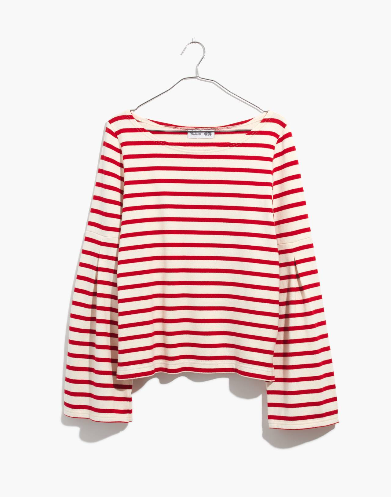 Madewell x Armor-Lux® Flare-Sleeve Striped Top in red creme stripe image 4