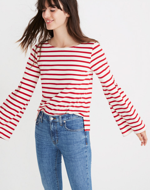 Madewell x Armor-Lux® Flare-Sleeve Striped Top in red creme stripe image 1