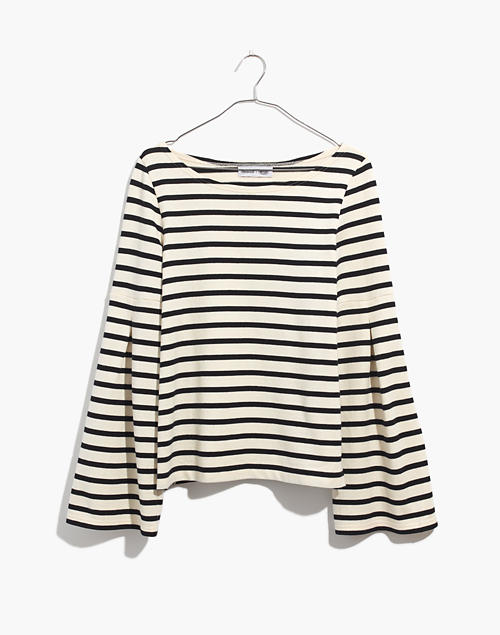 9d613b8106e Madewell x Armor-Lux reg  Flare-Sleeve Striped Top in navy creme stripe  image
