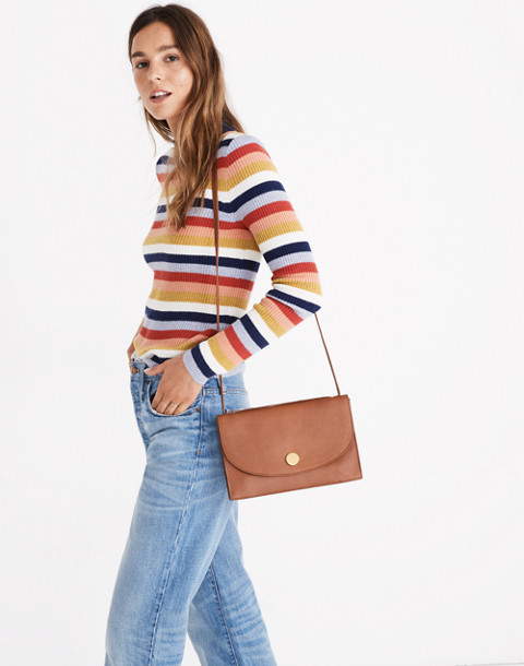 Mockneck Pullover Sweater in Stripe in blue night image 2