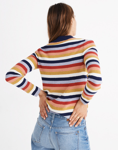 Mockneck Pullover Sweater in Stripe in blue night image 3