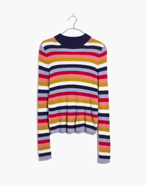 Mockneck Pullover Sweater in Stripe in blue night image 4