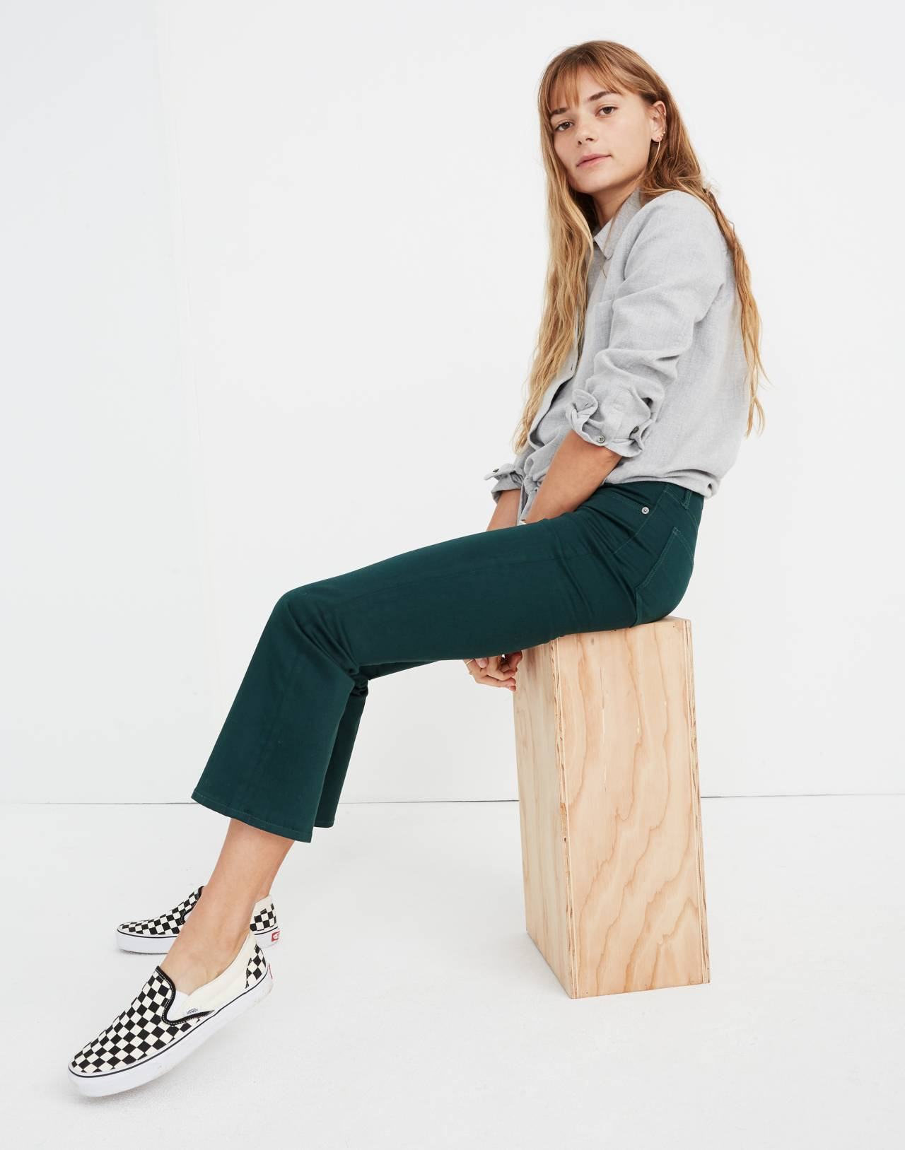 Cali Demi-Boot Sateen Jeans in smoky spruce image 2