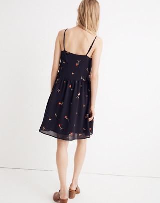 Embroidered Babydoll Cami Dress in matilda dark night image 2