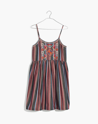 Embroidered Babydoll Cami Dress in Stripe in modern classic black image 4