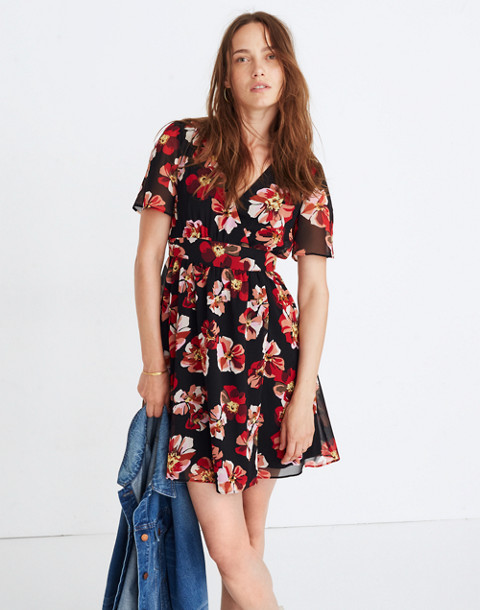 Tulip-Sleeve Mini Dress in French Rose in peri clover image 3