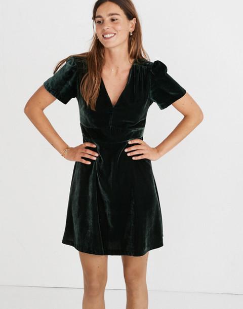 Velvet Mini Dress in smoky spruce image 2